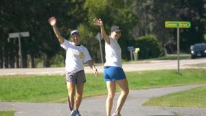 Shannon Wilson (left) and Alison Wall walk along the 1000 Islands Parkway on Saturday, Sept. 25. (Nate Vandermeer/CTV News Ottawa)