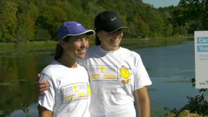 Shannon Wilson (left) and Alison Wall plan to walk 101 km on Saturday along the 1000 Islands Parkway. (Nate Vandermeer/CTV News Ottawa)