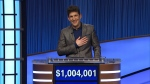 """This photo provided by Jeopardy Productions Inc. shows """"Jeopardy!"""" contestant Matt Amodio's after his total win amount was announced, Friday, Sept. 24, 2021. (Jeopardy Productions Inc. via AP)"""