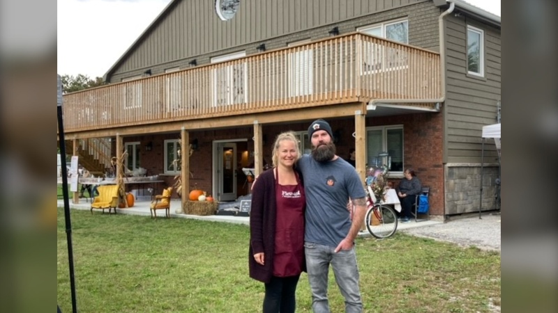 Emily and Brandon Day, a married couple who run their own social enterprise businesses, held a Fall market on Sat. Sept. 25, 2021 (Amanda Hicks/CTV News Barrie)