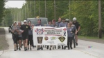 Officers remember fallen colleagues in a scaled down version of the Run to Remember on Sat. Sept. 25, 2021 (Steve Mansbridge/CTV News Barrie)