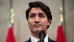 Prime Minister Justin Trudeau speaks during an announcement that Canadians Michael Spavor and Michael Kovrig have been released from detention in China, on Parliament Hill in Ottawa, Sept. 24, 2021. THE CANADIAN PRESS/Justin Tang