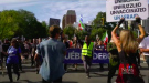 Anti-vaccine protesters march in Montreal on Sept. 25, 2021