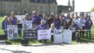 Advocates for victims of violent crime hold a rally on Parliament Hill on the National Day of Remembrance for Murder Victims. (Shaun Vardon/CTV News Ottawa)