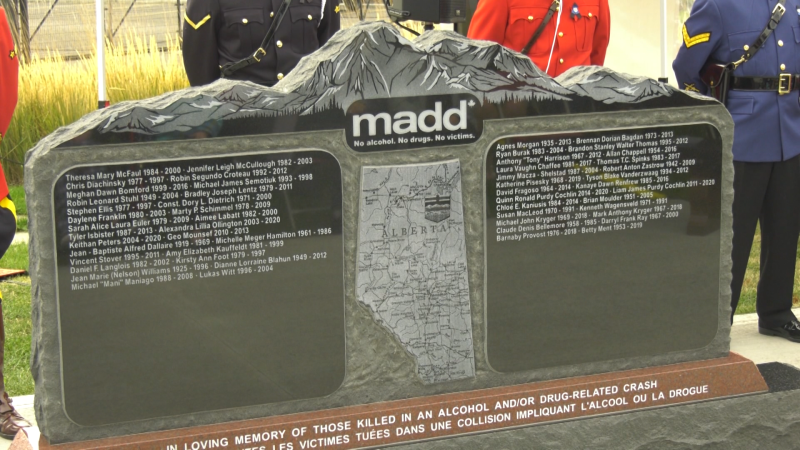 A monument to remember people killed by impaired drivers. Saturday Sept. 25, 2021 (CTV News Edmonton)