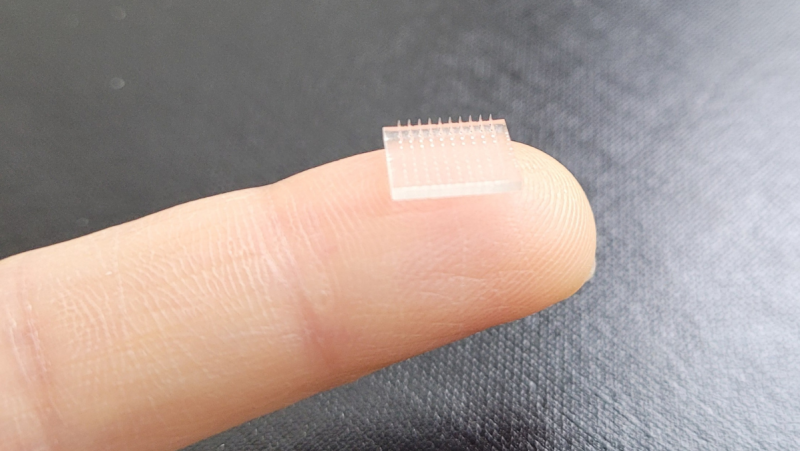 Researchers from Stanford University and the University of North Carolina at Chapel Hill say that their 3D-printed vaccine patch can offer an immune response that's much stronger than a vaccine delivered with a traditional jab. (UNC-Chapel Hill)