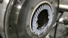 In this May 7, 2019 photo, a machine that produces plastic pellets from plastic film is seen in operation at a GDB International warehouse in New Brunswick, N.J. The raw ingredient that forms the base of all things plastic is emerging as the tiniest example of how COVID-19 is causing enduring supply chain turmoil. THE CANADIAN PRESS/AP/Seth Wenig