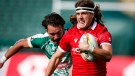 Canada's Thomas Isherwood, right, outruns Mexico's Luc Martin to score a try during an HSBC Canada Sevens rugby match in Edmonton, Alberta, Saturday, Sept. 25, 2021 (The Canadian Press/Jeff McIntosh).