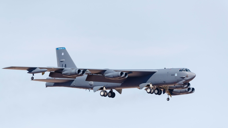 A file photo of a US Air Force B-52H Stratofortress on final approach to Nellis Air Force Base, Nevada, after a Red Flag mission. (Rob Edgcumbe/STKRF/AP Photo)
