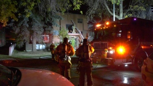 Firefighters respond to a blaze in Ritchie that sent one person to hospital and displaced five people on Saturday, Sept. 25, 2021 (CTV News Edmonton/Jay Rosove)