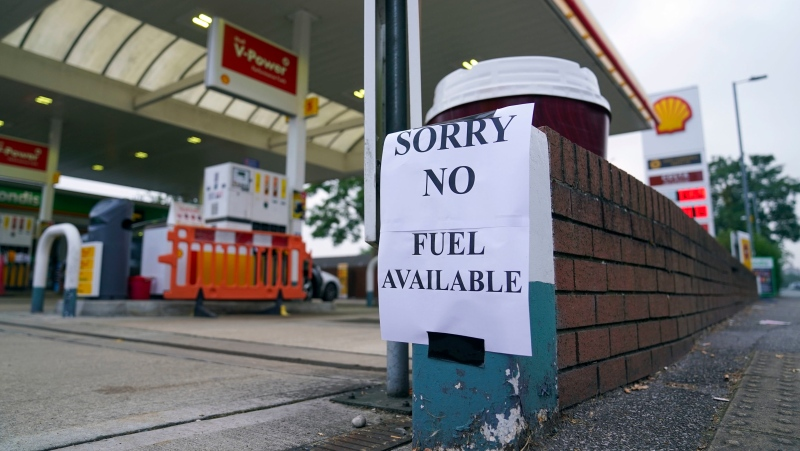 A view of a sign at a petrol station, in Bracknell England, Sunday Sept. 26, 2021. (Steve Parsons/PA via AP)