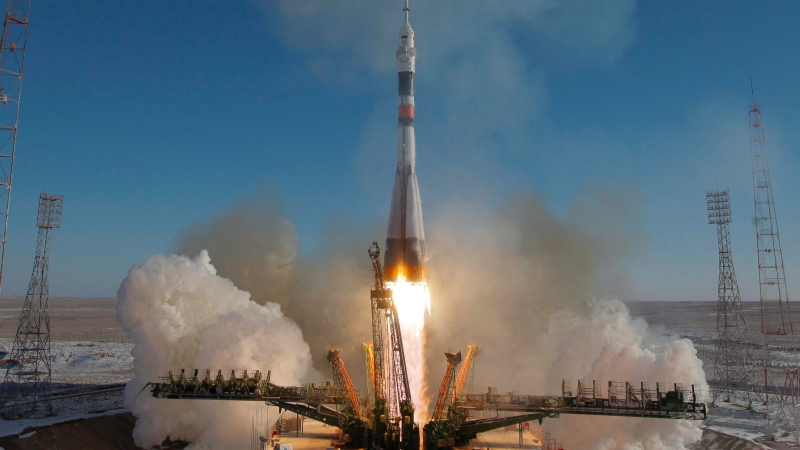 FILE - The Soyuz-FG rocket booster with Soyuz MS-07 space ship carrying a new crew to the International Space Station, ISS, blasts off at the Russian leased Baikonur cosmodrome, Kazakhstan, Sunday, Dec. 17, 2017. (AP Photo/Dmitri Lovetsky)