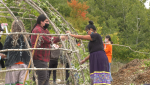 Officials say the teaching lodge, which will remain up year-round, is designed to compliment modern-day teaching methods at Shingwauk Kinoomaage Gamig, the Anishinabek university in the Soo. Sept.26/21 (Mike McDonald/CTV News Northern Ontario)