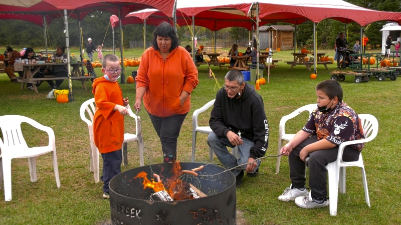 People have come from as far away as Timmins, Huntsville and Minden, Ont. to check out the 'Fall Fun Days' at Aidie Creek Gardens in Englehart.  One of the many activities was a camp fire pit where people could cook their own wieners if they brought their own sticks. Sept. 26/21 (Lydia Chubak/CTV News Northern Ontario)
