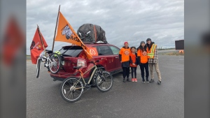 Four females from a Saskatchewan First Nation are on the road raising awareness about residential schools and intergenerational trauma. The group passed through Sudbury, Ont. on Sunday. Sept.26/21 (Alana Everson/CTV News Northern Ontario)