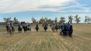 participants in the Terry Fox Equestrian Trail Ride head out in to the farm land to begin the Sept. 26 ride to raise funds for cancer research.