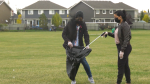 Cleaning up garbage at the South Terwillegar Park. Sunday Sept. 26, 2021 (CTV News Edmonton)