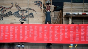 A ceremonial cloth with the names of 2,800 children who died in residential schools and were identified in the National Student Memorial Register, is carried to the stage during the Honouring National Day for Truth and Reconciliation ceremony in Gatineau, Quebec on Monday, Sept. 30, 2019. (THE CANADIAN PRESS/Justin Tang)