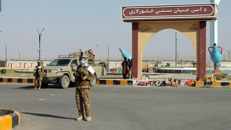 Taliban commando fighters stand guard in Lashkar Gah, Helmand province on August 27. (Abdul Khaliq/AP)