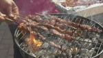 Skewers on a barbeque at Nipissing Culture Days. Sept. 27/21 (Eric Taschner/CTV Northern Ontario)