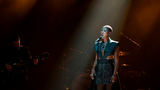 Dominique Fils-Aime performs during the 2019 Polaris Music Prize in Toronto on Monday, Sept. 16, 2019. THE CANADIAN PRESS/Nathan Denette