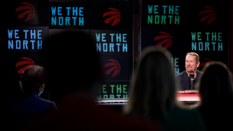 Toronto Raptors head coach Nick Nurse speaks to media during a press conference at Scotiabank Arena during the team's media day in Toronto, Monday, Sept. 27, 2021. THE CANADIAN PRESS/Cole Burston