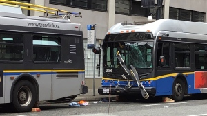 A damaged bus seen on West Cordova on Sept. 27, 2021.