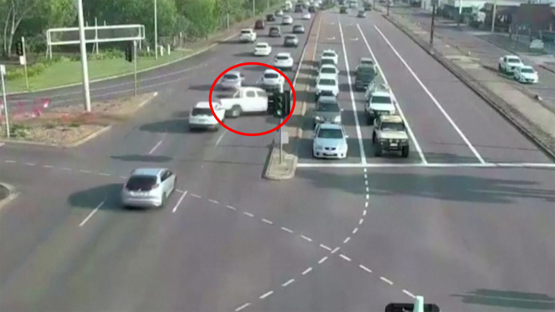 Watch as an out-of-control truck narrowly misses other vehicles as it speeds through multiple lanes of traffic in Australia.