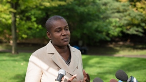 Annamie Paul speaks to the media during a press conference announcing she is officially stepping down as Green Party leader, at Suydam Park in Toronto on Monday, September 27, 2021. THE CANADIAN PRESS/ Tijana Martin