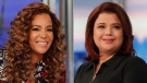 """This combination of photos shows co-hosts Sunny Hostin, left, and Ana Navarro on the set of """"The View,"""" in New York on Sept. 17, 2021. (ABC/Lou Rocco via AP)"""