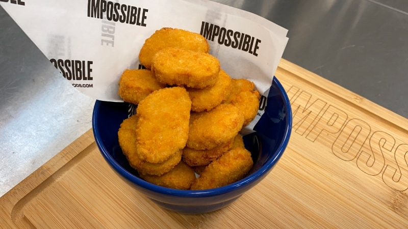 Impossible Foods' new meatless nuggets in Redwood City, Calif., on Sept. 21, 2021. (Terry Chea / AP)