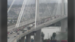 Backed up traffic is seen on the Port Mann Bridge in an image from DriveBC webcam on Monday, Sept. 27, 2021.
