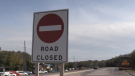 Police closed Dunlop Street West between Tiffin and Ferndale in Barrie, Ont., on Mon., Sept. 27, 2021, following a head-on collision. (KC Colby/CTV News)