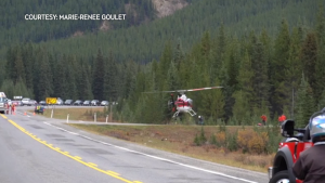 A hiker injured by a grizzly bear was retrieved in Kananaskis Country utilizing an Alpine Helicopters helicopter on Sept. 26. (image courtesy: Marie-Renee Goulet)