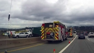 Serious crash blocks Port Mann Bridge