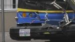 Person injured between 2 transit buses