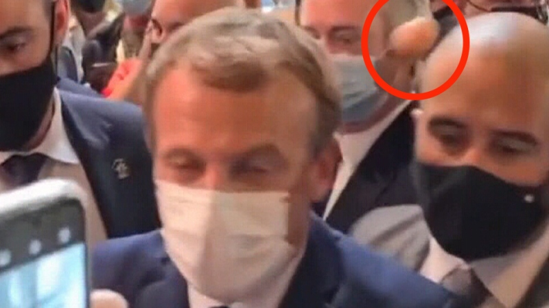Macron egged in France