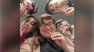 Members of Onion Honey take a COVID-19 test before performing (Instagram: onionhoneymusic)