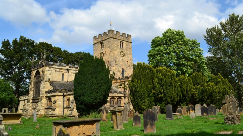 St. Mary's Church, Norton, Stockton-on-Tees, on a summer afternoon. Locals held a beer festival at the church. (Teesside Snapper/Alamy Stock Photo)