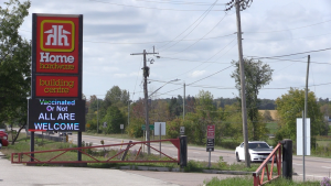 The Home Hardware sign in Cookstown, Ont., on Mon., Sept. 27, 2021 (Mike Arsalides/CTV News)