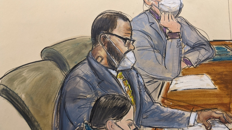 In this courtroom sketch, R. Kelly, centre, sits with his defence attorneys Thomas Farinella, top, and Nicole Blank Becker during the first day of his defence in his sex trafficking case, Monday, Sept. 20, in New York. (Elizabeth Williams/AP)