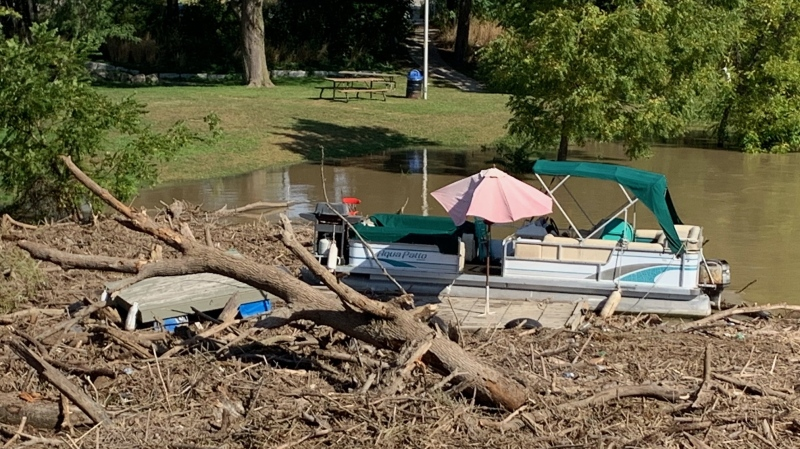 Fifth Street Bridge will be closed overnight as municipal crews remove flood debris from the Thames River in Chatham, Ont. on Monday, Sept. 27, 2021. (Chris Campbell/CTV Windsor)