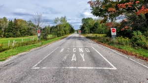 Wrong way signs are visible on a one-way street in Innisfil, Ont. (South Simcoe Police)