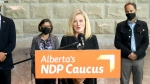 Alberta NDP Leader Rachel Notley speaks in Calgary, calling on the province to implement a door-to-door campaign to increase vaccination rates and reduce hesitancy.