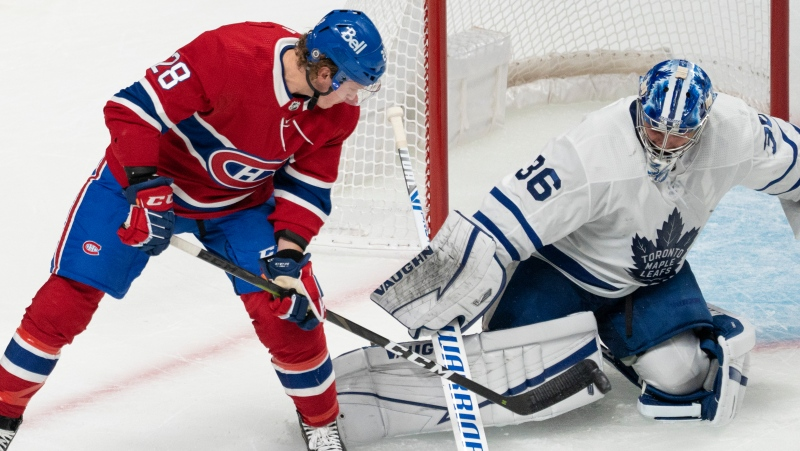 Montreal Canadiens' Christian Dvorak is stopped by Toronto Maple Leafs goaltender Jack Campbell (36) during first period pre-season NHL hockey action in Montreal, Monday, Sept. 27, 2021. THE CANADIAN PRESS/Ryan Remiorz