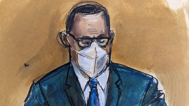 """In this courtroom sketch, R. Kelly listens as the jury foreperson reads the verdict, Monday, Sept. 27, 2021, in New York. The R&B superstar known for his anthem """"I Believe I Can Fly,"""" was convicted in a sex trafficking trial after decades of avoiding criminal responsibility for numerous allegations of misconduct with young women and children. (AP Photo/Elizabeth Williams)"""