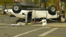 Photos showing charred vehicles after a police chase ended in a fiery crash in downtown Red Deer (CTV News/Nav Sangha)