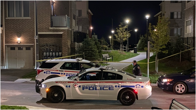 Durham Regional Police officers arrive on scene of a shooting in Pickering Tuesday morning. (Mike Nguyen)