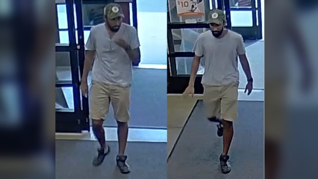 A suspect seen in this surveillance image is wanted after allegedly exposing himself at a PetSmart location in Burlington. (Halton Police)