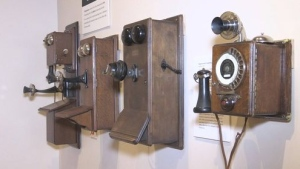 Phones on display at the Wellington County Museum